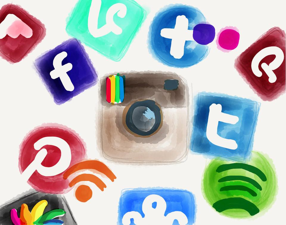 Logos von verschiedenen sozialen Netzwerken - Instagram, Facebook, Twitter, etc.