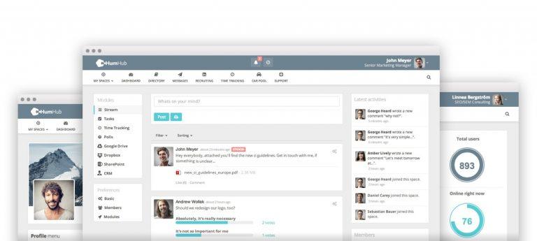 Screenshot der Benutzeroberfläche von HumHub