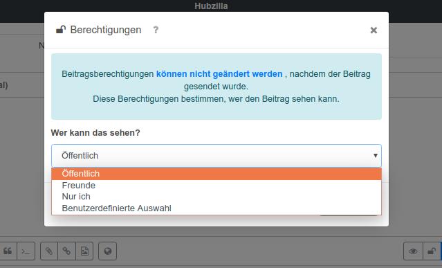 Screenshot eines Dialogs beim Teilen eines Beitrags auf Hubzilla