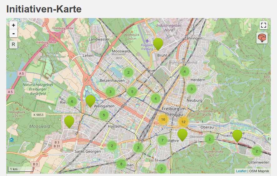Screenshot einer Karte von Initiativen in Freiburg