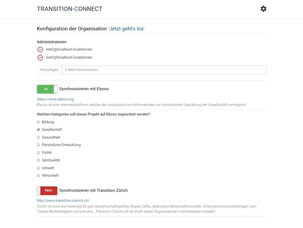 Screenshot des Konfigurationsdialogs für Transition-Connect